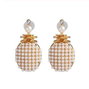 Gold Pearl Pineapple Summer Large Stud Earrings